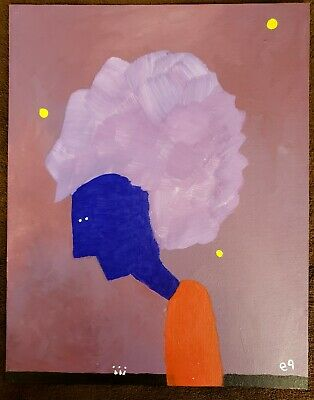the weight of big hair e9Art 11x14 Abstract Figurative Outsider Art Painting