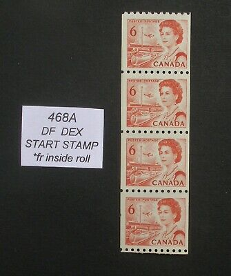 468A End Strip of 4 from inside of coil roll ~ Centennial Stamps
