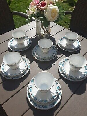 Vintage 6 X Trios Tea Cups Green pagoda Dainty Green and blue Floral Bone China
