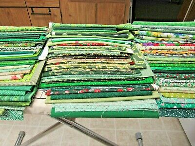 Lot Of Quilting Cotton Fabric Scraps Shades Of Green 100 Prints Floral  8 + Lbs