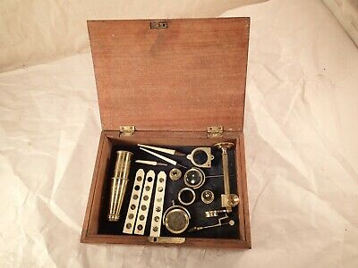 """Antique 1800's Gould-Type Brass Compound Field Microscope Signed """"CARY, LONDON"""""""