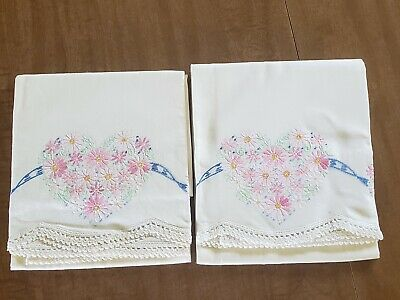 Vintage Pair Hand Embroidered Pillowcases Floral Heart