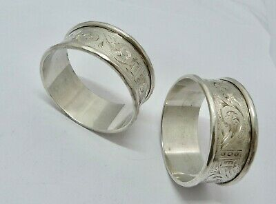 1921 - Two Hallmarked - Solid Silver - Napkin Rings - 41.7 Grams