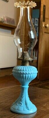 Antique Portieux Vallerysthall Opaline Glass Oil Lamp
