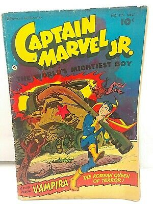 1952 Captain Marvel Jr. w/ Vampira Fawcett Comics No.116 G Condition