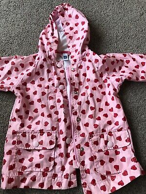 Baby Gap Girls Pink And Red Heart Raincoat Age 2