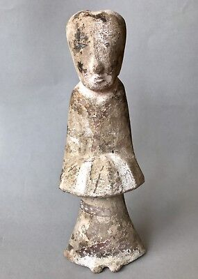 Ancient China Han Dynasty Terracotta Serving Maid Statuette Visible Surface Pigm