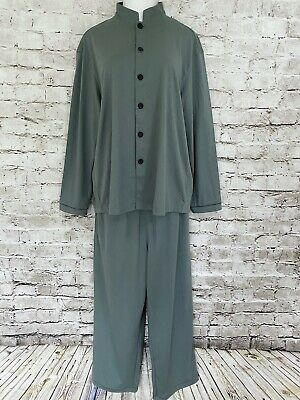 NWOT Cathay Pacific First Class PYE Size Large Sage Green Organic Cotton Pajamas