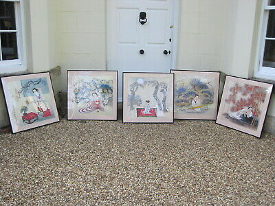 Set of 5 Large Framed and Mounted Japanese Woodblock Prints J