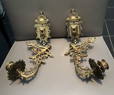 Pair Of Antique Ornate Cast Brass Piano Candle Holders Wall Sconces