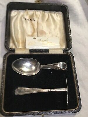 Antique Silver Babys Christening Set Spoon & Pusher Original Box