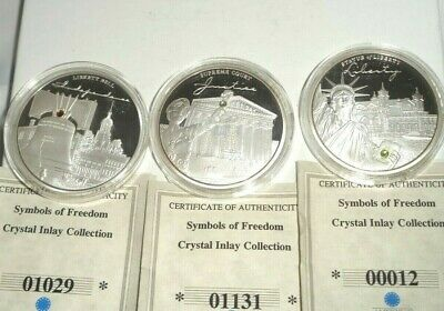 3 pc AMERICAN MINT Symbols of Freedom Silver Plated Proof w/ Swarovski Crystal