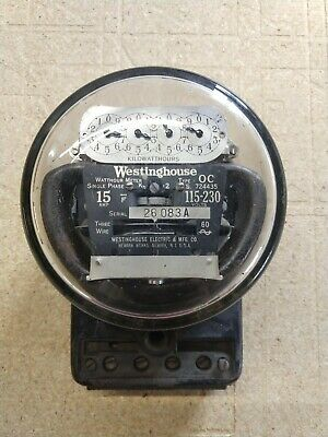 Antique Westinghouse Type OC Watthour Meter Single Phase 15 Amp 115-230V