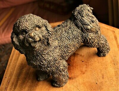 Vintage Solid Bronze Patinated Sculpture of Bichon Frise or Portuguese Water Dog