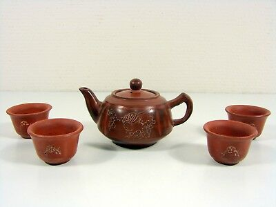 A rare and fine Chinese Yixing Teapot Decor Bird signed + 4 cups