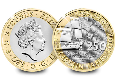Royal Mint Captain Cook Voyage 2018 BU £2 Two Pound Coin Sealed Card.