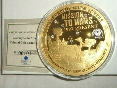 2019 AMERICAN MINT Journey to the Moon MISSION TO MARS Gold Plated Medal w/ COA