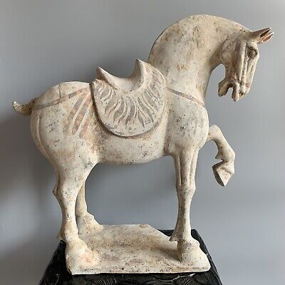 Superb Large Tang Dynasty Terracotta Standing Horse Pigment Remains. TL Tested