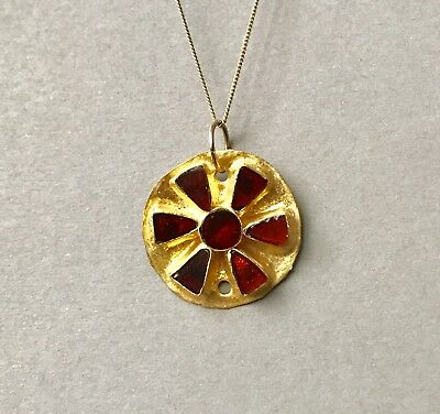 BEAUTIFUL Ancient Greek Hellenistic Gold Plate Pendant With 7 Garnets. Jewellery