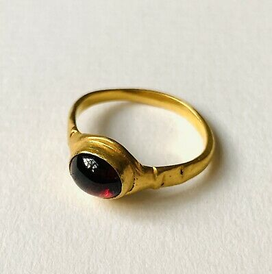 Beautiful Ancient Byzantine Solid Gold Finger Ring With Garnet UK: L, W:3.9g