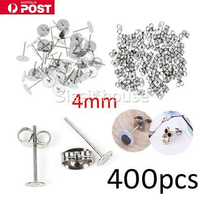 400PCS 6mm Earring Stud Posts Flatback Hypoallergenic Surgical Stainless Steel