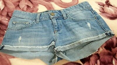 Authentic Girls' GUESS MINI shorts Size 24 00 Hot Pants Blue Denim distressed