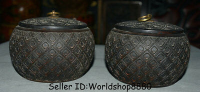"""5.6"""" Rare Old China Dynasty Huanghuali Wood Hand Carved Caddy Pot Jar Crock Pair"""