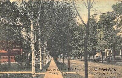 Corning NY Second Street Street View in 1910 Postcard
