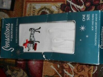 Women's Sensations by Isotoner Off White Dalmatian Gloves New One Size