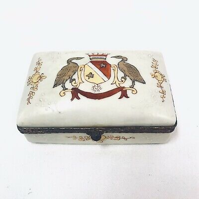 Vtg Edme Samson Style Hand Painted Porcelain Heraldic Coat of Arms Box