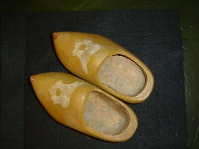 Antique Dutch Hand Carved Child's Wooden Clogs Made Holland 1945 Signed by Maker