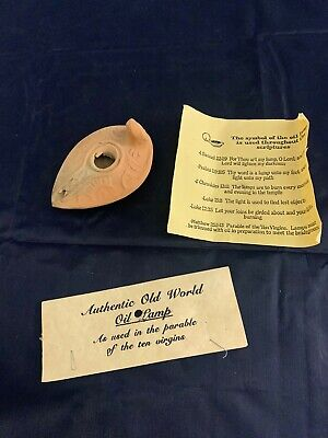 "Purchased On Travels Authentic Old World Oil Lamp 4"" Long Parable Ten Virgins"