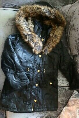 RIVER ISLAND girls black faux leather fur leopard hooded coat AGE 7 EX COND