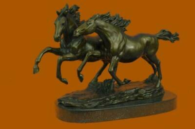Signed Zhang Two Running Horses Bronze Sculpture Marble Base Statue Art Hot Cast