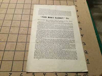 Original booklet: POOR MAN'S BLANKET, ETC 8pgs -- late 1800's about tax & terrif