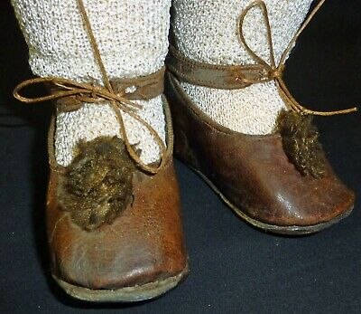 LARGE OLD LEATHER SHOES with Socks for ANTIQUE DOLL, DOLL CLOTHES,