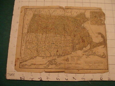 Original Map: 1830 Map of MASSACHUSETTS w Connecticut & Rhode Island