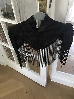 Antique Victorian mourning cape, jet beading