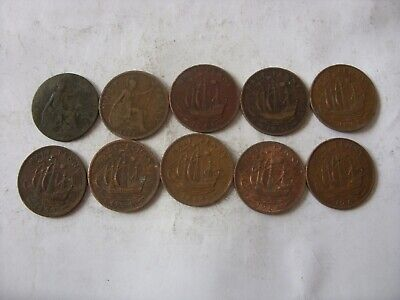 7   Lot Of 10 Old  Half  Penny   1903 - 1966  Three   Kings !!!!