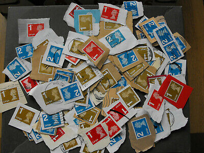 100 Large Letter GB Stamps Used & Franked on Paper Red Gold & Blue