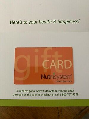 Nutrisystem $100 Gift Card Certificate Nutri-System No Expiration! Free shipping