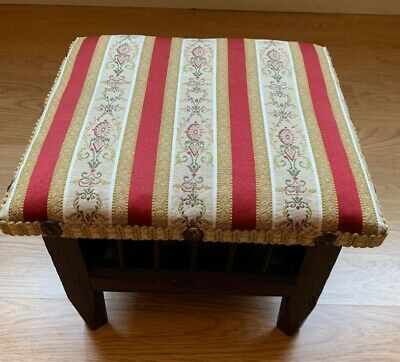 Small Antique Vintage unusual Foot Stool With A Storage Space & A Pot