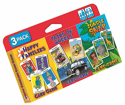 Children's Card Games - Jungle Snap, Pairs on Wheels and Happy Families 3 Pack