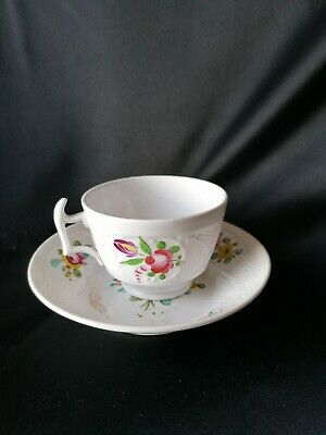 Georgian early 19th century cup and saucer. painted decoration. Newhall? , c1820