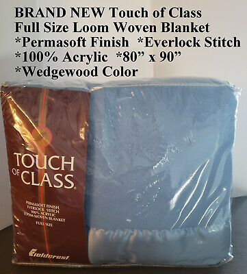 """NIP """"VINTAGE"""" Touch of Class Full Size Loom Woven Blanket 80""""x90"""" Wedgewood Blue"""