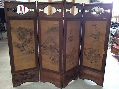 Antique Oriental Screen. Hand painted Asian Paintings. Hand Embroidered Screen
