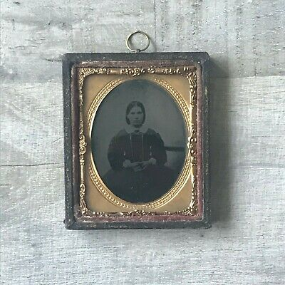 Antique Victorian Daguerreotype Ambrotype Photograph Of A Lady