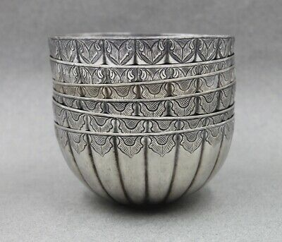 Asian Sterling Silver Set 6 Bowls Chinese Export or Singapore Indonesia Thailand