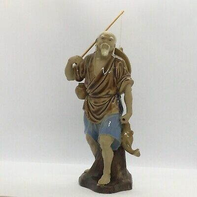 ✨ Absolutely Stunning! A Vintage Chinese Large Mudman 'Fisherman' Figurine ✨