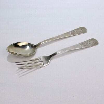 Old Or Antique Signed Chinese Export Silver Fork & Spoon Set - SL